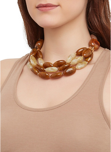 Tiered Beaded Necklace with Earrings,BROWN,large