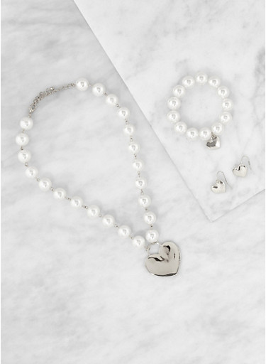 Faux Pearl Charm Necklace with Bracelet and Earrings,SILVER,large