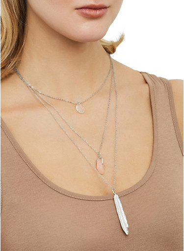Layered Charm Necklace,SILVER,large