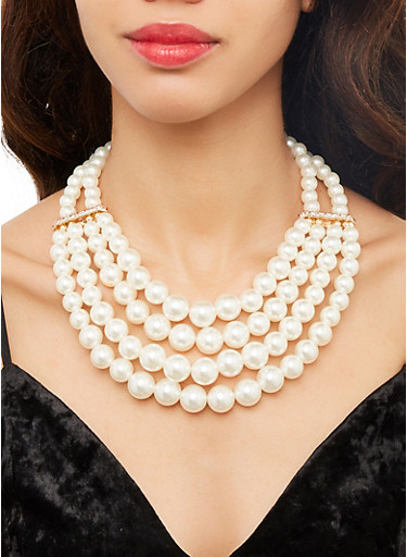 Layered Faux Pearl Necklace and Earrings,IVORY,large