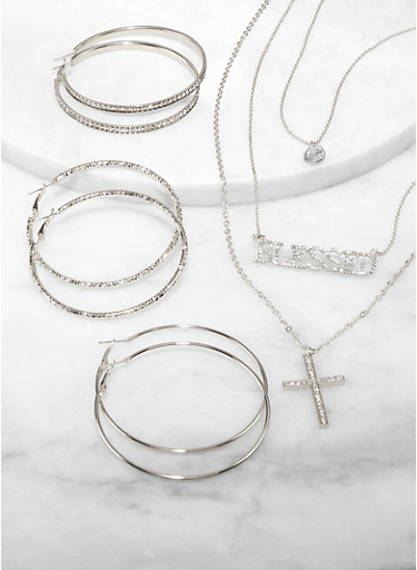 Blessed Rhinestone Layered Necklace with Hoop Earrings,SILVER,large