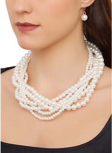 Faux Pearl Braided Necklace and Drop Earrings,IVORY,large