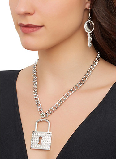 Lock Chain Necklace with Key Drop Earrings,SILVER,large