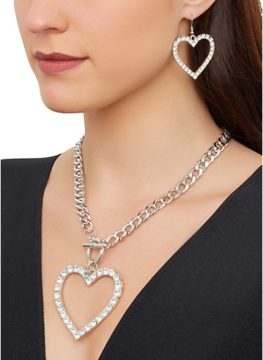Rhinestone Heart Curb Chain Necklace with Drop Earrings,SILVER,large