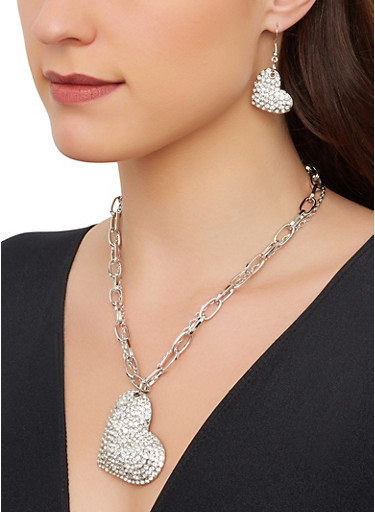 Layered Heart Chain Necklace with Drop Earrings,SILVER,large