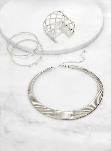 Metallic Collar Necklace with Cuff Bracelet and Rhinestone Hoop Earrings,SILVER,large
