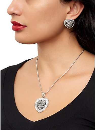 Heart Rhinestone Necklace and Earrings,SILVER,large