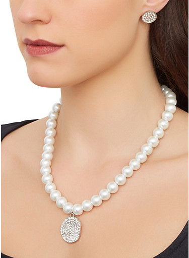 Faux Pearl Necklace with Stretch Bracelet and Earrings,SILVER,large