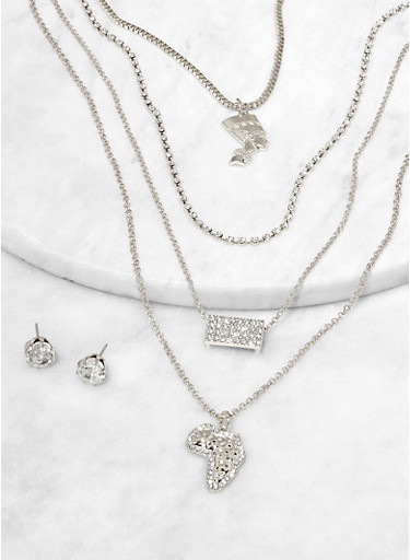 Africa Charm Layered Necklace with Stud Earrings,SILVER,large