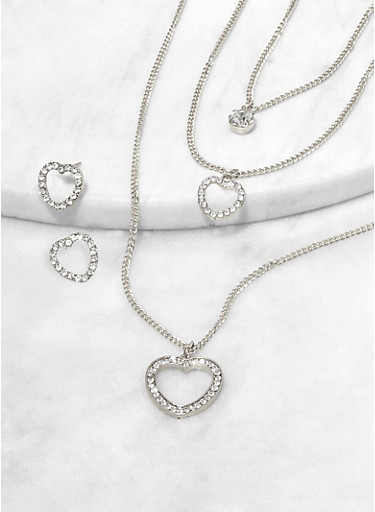 Rhinestone Heart Layered Charm Necklace and Stud Earrings,SILVER,large