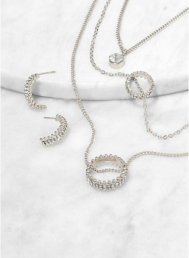 Rhinestone Ring Layered Necklace with Earrings,SILVER,large