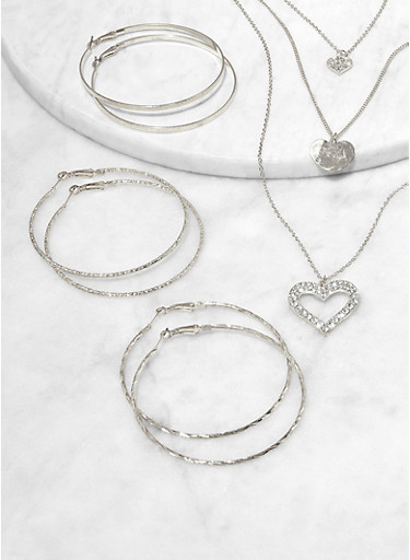 Rhinestone Heart Necklace with Hoop Earring Trio,SILVER,large