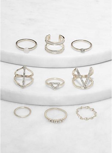 Set of 9 Metallic Rhinestone Detail Rings,SILVER,large