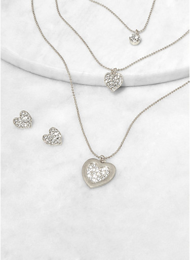 Heart Pendant Layered Necklace with Matching Stud Earrings,SILVER,large