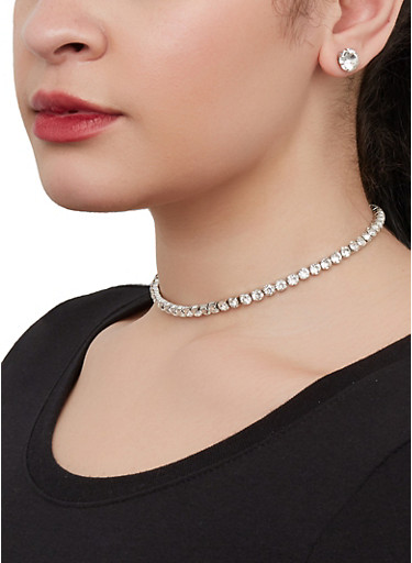 Rhinestone Tennis Choker Necklace with Stud Earrings,SILVER,large