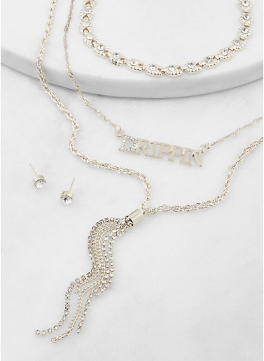 Drippin Chain Chokers with Stud Earrings,SILVER,large