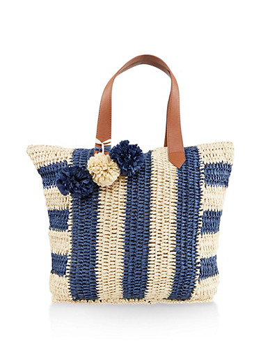Striped Straw Tote Bag,NAVY,large