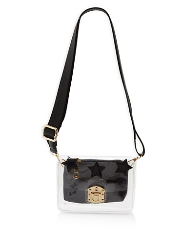 Small Clear Crossbody Bag with Faux Leather Zip Pouch,BLACK/CLEAR,large