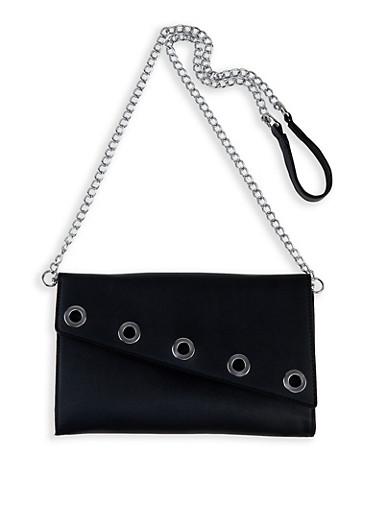 Grommet Detail Crossbody Bag,BLACK,large