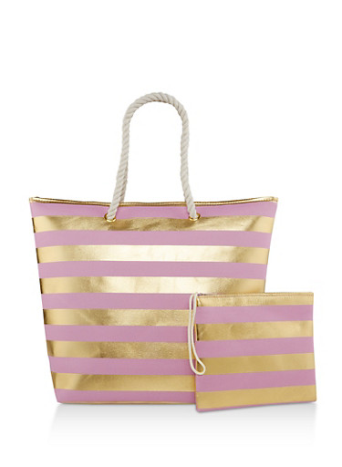 Striped Zip Tote with Pouch,PINK,large