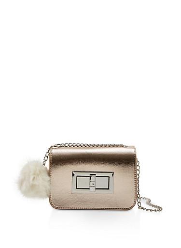 Twist Lock Crossbody Bag,ROSE,large