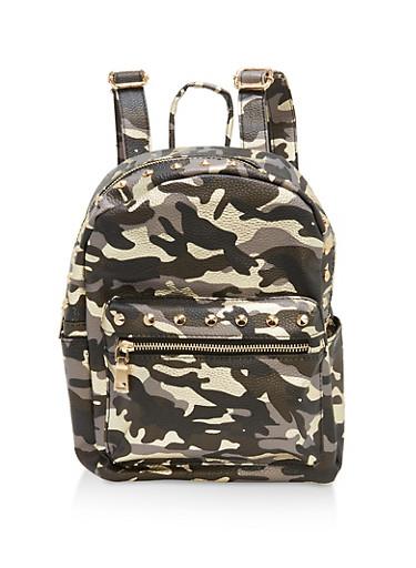 Camo Studded Backpack,CAMOUFLAGE,large