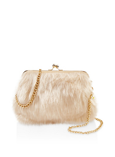Kiss Lock Faux Fur Crossbody Bag,NATURAL,large
