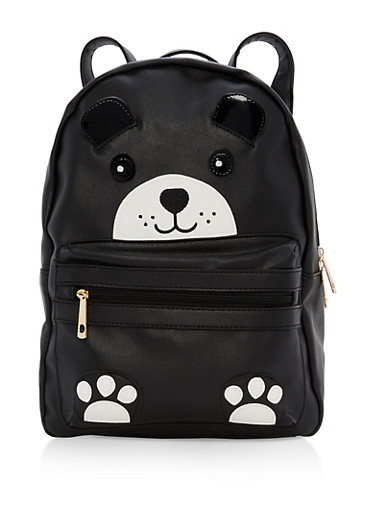 Faux Leather Bear Backpack,BLACK,large