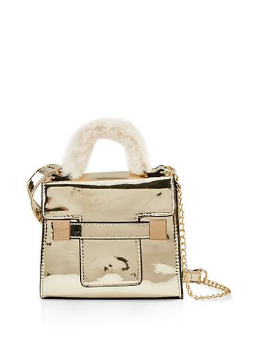 Faux Fur Handle Crossbody Bag,GOLD,large