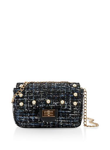 Faux Pearl Tweed Handbag,BLACK,large