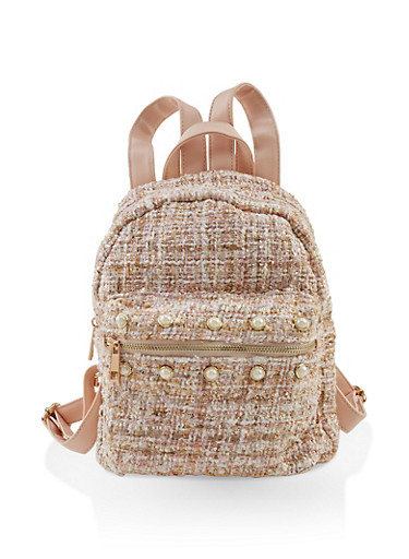 Faux Pearl Studded Tweed Backpack,BLUSH,large