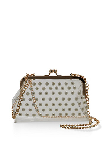 Clear Faux Pearl Studded Crossbody Bag,CLEAR,large