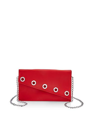 Grommet Detail Crossbody Bag | Red,RED,large