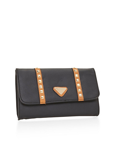 Studded Faux Leather Foldover Clutch,BLACK,large