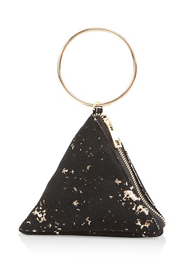 Sequin Detail Pyramid Wristlet,BLACK,large