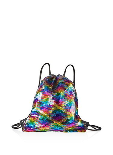 Reversible Rainbow Sequin Drawstring Backpack,MULTI COLOR,large