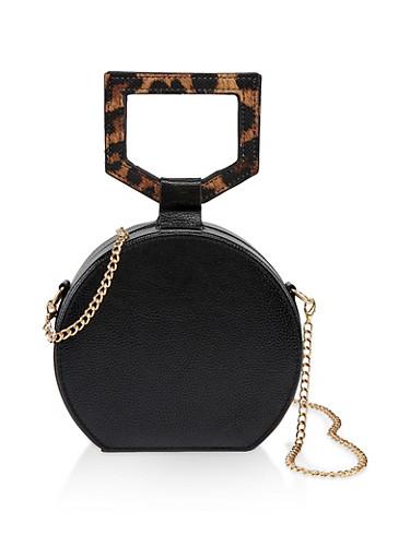 Circular Chain Strap Crossbody Bag,BLACK,large
