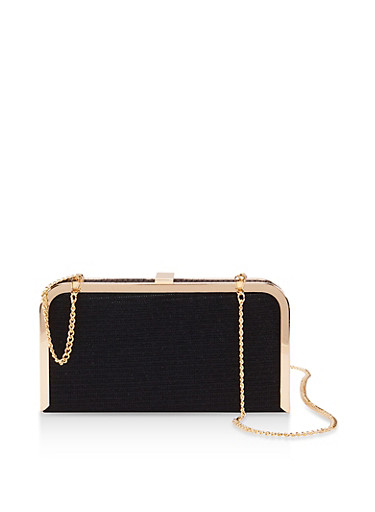 Glitter Chain Strap Crossbody Bag,BLACK,large