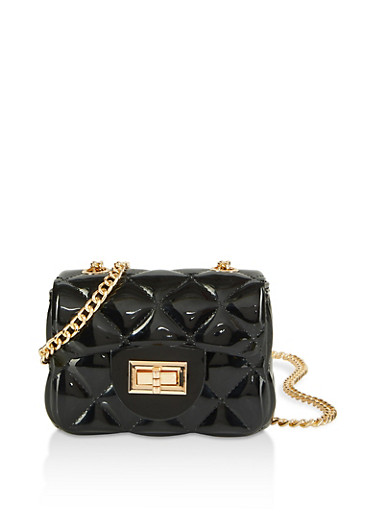 Quilted Jelly Mini Crossbody Bag,BLACK,large