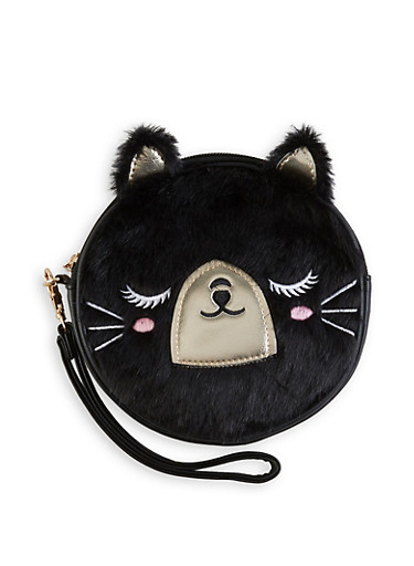 Round Faux Fur Bear Wristlet,BLACK,large