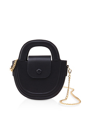 Half Circle Chain Strap Crossbody Bag,BLACK,large