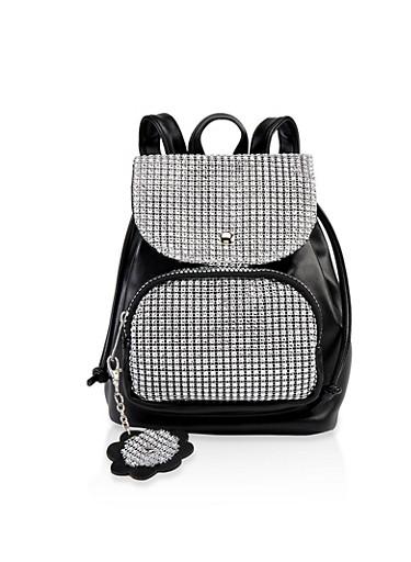 Rhinestone Mesh Mini Backpack,BLACK,large