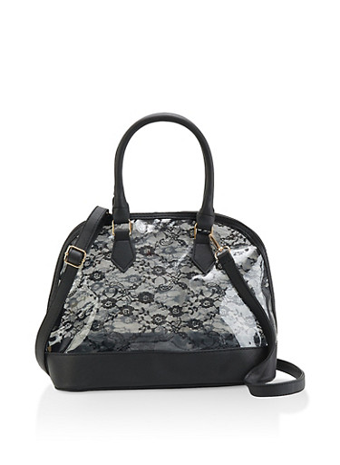 Clear Lace Bowler Bag,BLACK,large