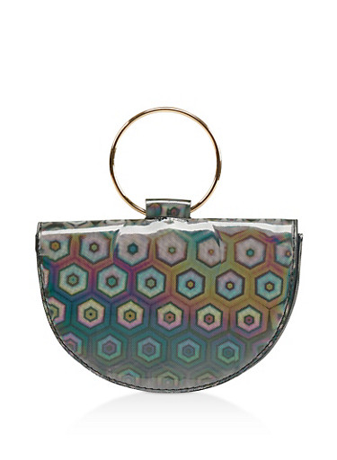 Holographic O Ring Handle Clutch,BLACK,large