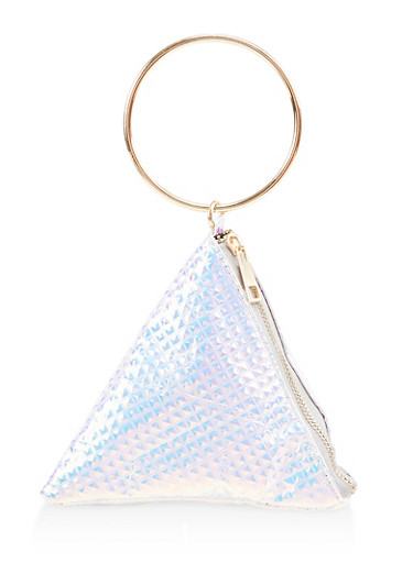 Iridescent Pyramid Wristlet,WHITE,large