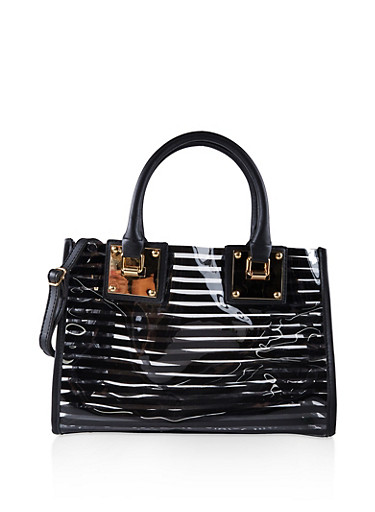Striped Clear Tote Bag,BLACK,large