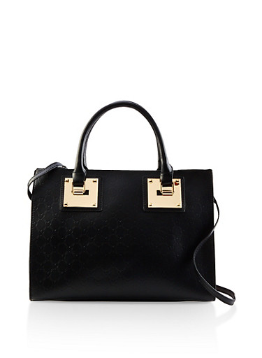 Heart Embossed Faux Leather Bag,BLACK,large