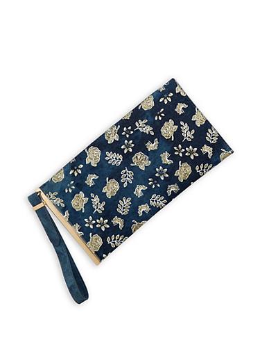 Glitter Floral Embossed Denim Wristlet,DENIM,large