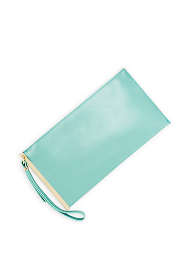 Faux Leather Clutch with Wrist Strap,MINT,large