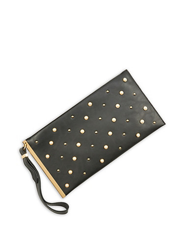 Faux Pearl Studded Clutch,BLACK,large